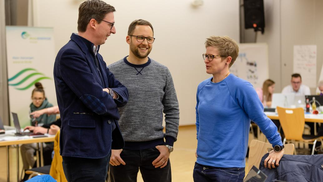 Start up Coach Christian Dietrich mit Marius Kreis und Christina Kalb